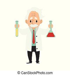 rigolote, fou, vieux, illustration., science, scientist., character., professor., experiment., contrôleur, vecteur, fou, éloigné, dessin animé