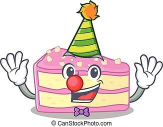 rigolote, fraise, caractère, conception, mascotte, clown, dessin animé, couper, gâteau