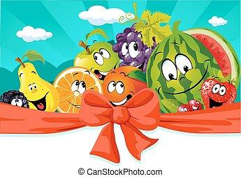 rigolote, fruit, bannière, dessin animé, desig