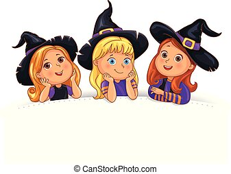 rigolote, gabarit, halloween, fond, chapeau blanc, enfants, heureux