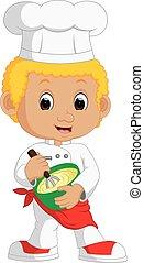 rigolote, garçon, chef cuistot, gâteau, confection, dessin animé