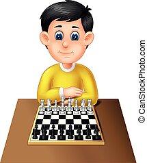rigolote, garçon, dessin animé, échecs, jouer