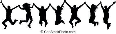 rigolote, gens arrière-plan, silhouette., saut, tenant mains, amis