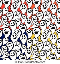 rigolote, ghost., modèle, halloween, seamless, arrière-plan., heureux
