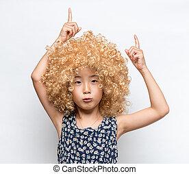 rigolote, girl, expression, asiatique, facial