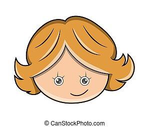 rigolote, girl, heureux, dessin animé, figure