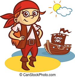 rigolote, girl, pirate, bateau