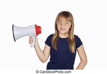 rigolote, girl, porte voix