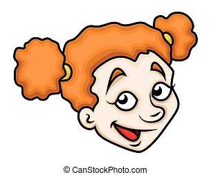 rigolote, girl, rire, dessin animé, figure
