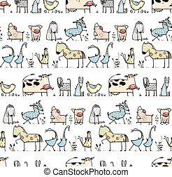rigolote, gosses, animaux, modèle, conjugal, seamless, fond, village, dessin animé
