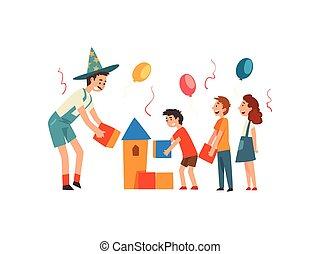 rigolote, gosses, anniversaire, avoir, illustration, jouer,...