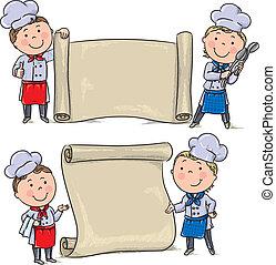 rigolote, gosses, deux, cuisinier, bannière, rouleau