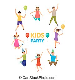 rigolote, gosses, ghildhood, filles, isolé, garçons, jumping., fête
