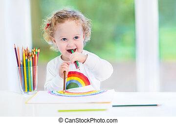 rigolote, grand, suivant, rire, w, bureau, bébé, blanc, dessin, girl