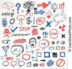 rigolote, graphique, crayon, signe, dessiné, main