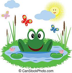 rigolote, grenouille, étang
