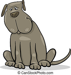 rigolote, gris, grand, chien, illustration, dessin animé
