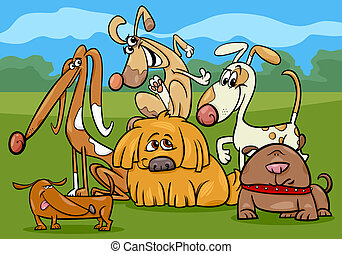 rigolote, groupe, chiens, illustration, dessin animé