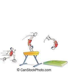 rigolote, gymnastique, homme