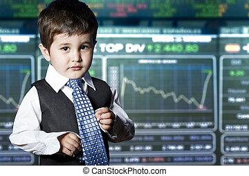 rigolote, habillé, face., enfant, homme affaires, marché, stockage