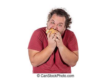 rigolote, hamburger., manger, excès poids, problèmes, nourriture, jeûne, eat., santé, graisse, unhealty, homme
