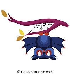 rigolote, hibou, affiche, halloween, plat, dessin animé