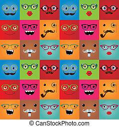 rigolote, hipster, monstre, faces, seamless, fond