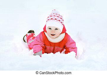 rigolote, hiver, neige, jour, enfant joue