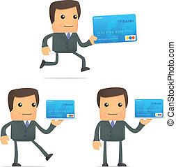 rigolote, homme affaires, dessin animé, carte, crédit