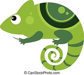 rigolote, iguana., alphabet, illustration, vecteur, animal