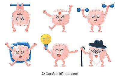 rigolote, illustration, dessin animé, cerveau humain, différent, situations, vecteur, caractères, emoticons, rose