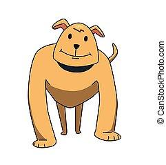 rigolote, illustration., plat, character., chien, isolé, arrière-plan., vecteur, chien garde, blanc, fort, sourire, dessin animé, standing.