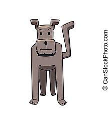 rigolote, illustration., plat, chien, character., gris, isolé, arrière-plan., vecteur, blanc, terrier, sourire, dessin animé, standing.