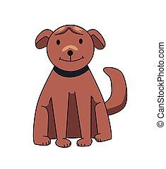 rigolote, illustration., sitting., brun, character., chien, plat, isolé, arrière-plan., vecteur, blanc, sourire, dessin animé
