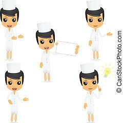 rigolote, infirmière, ensemble, dessin animé