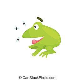 rigolote, insectes, puéril, caractère, grenouille, regarder, vert, illustration, dessin animé, heureux