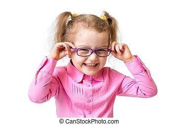 rigolote, isolé, girl, heureux, blanc, lunettes