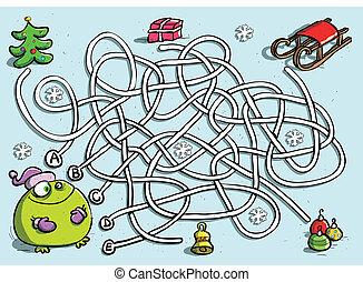 rigolote, jeu, hiver, grenouille, labyrinthe
