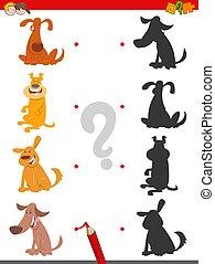 rigolote, jeu, ombre, dessin animé, chiens