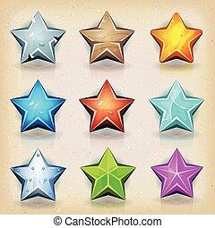 rigolote, jeu, ui, étoiles, icônes