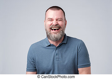 rigolote, joke., rire, mûrir, caucasien, homme