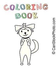 rigolote, jouet, isolé, character., chien, illustration, contour, chihuahua, coloration, vecteur, book., sourire, bownot., style., dessin animé