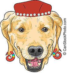 rigolote, labrador, chien, vecteur, hipster, dessin animé, retriever