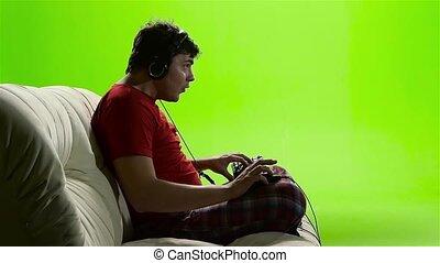 rigolote, lent, game., mouvement, informatique, jouer, homme