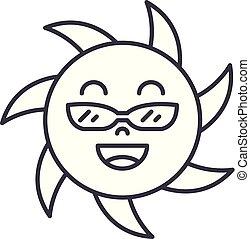 rigolote, linéaire, icône, illustration, soleil, concept., signe, vecteur, ligne, symbole, lunettes
