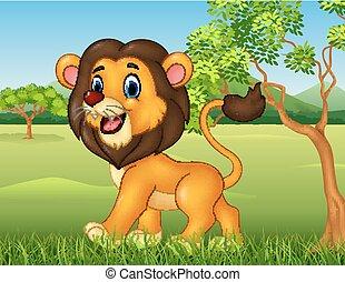 rigolote, lion, dessin animé, marche