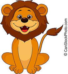 rigolote, lion, dessin animé, séance