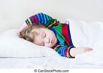 rigolote, lit, dormir, girl, enfantqui commence à marcher, blanc