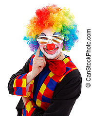 rigolote, lunettes soleil, nuances, clown, volet, blanc