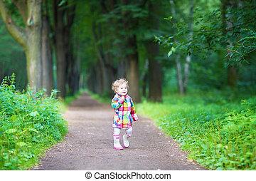 rigolote, marche, bouclé, parc, bottes, pluie, dorlotez fille